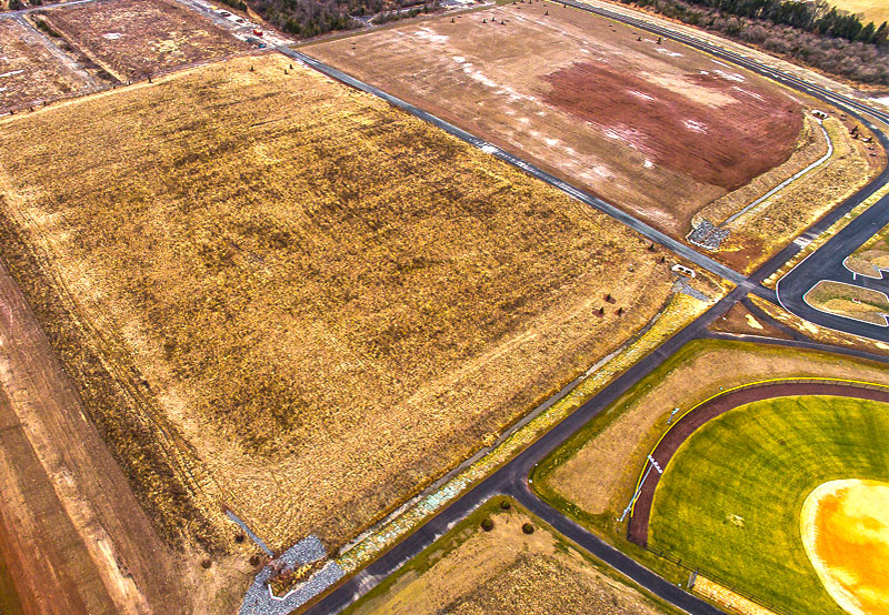 overhead view of fields at Belle Meade construction site