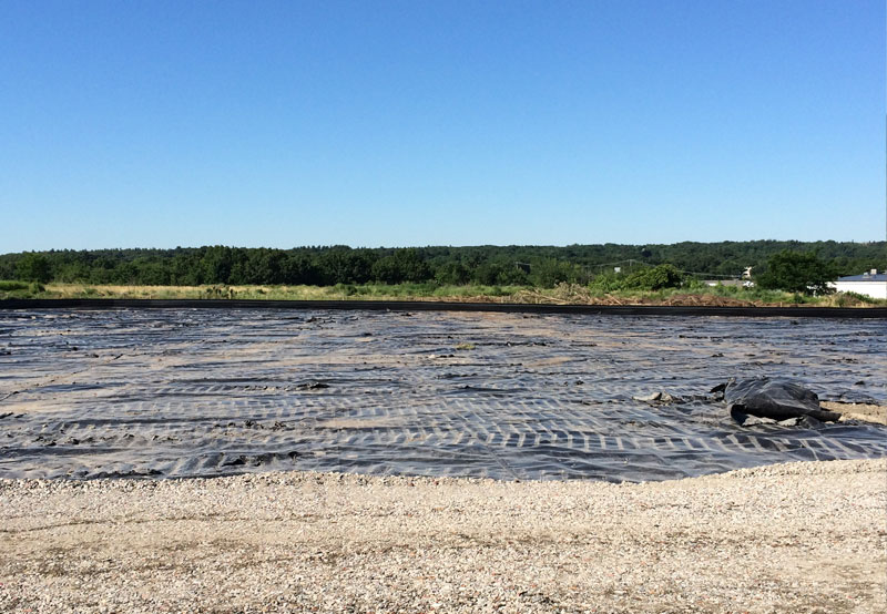flat view of tarps on Glenview Landfill