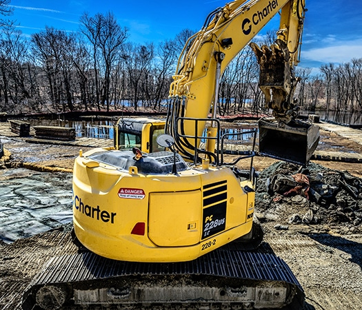 equipment at Powwow River Remediation project