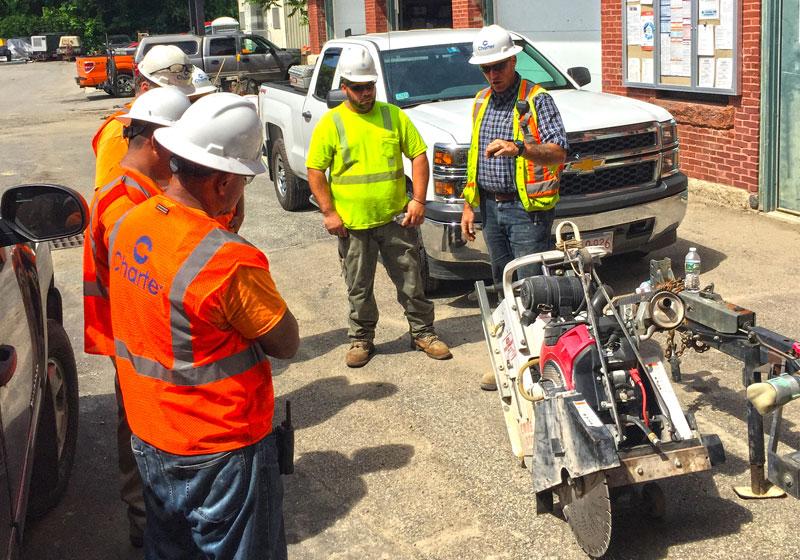 employees receiving equipment instruction
