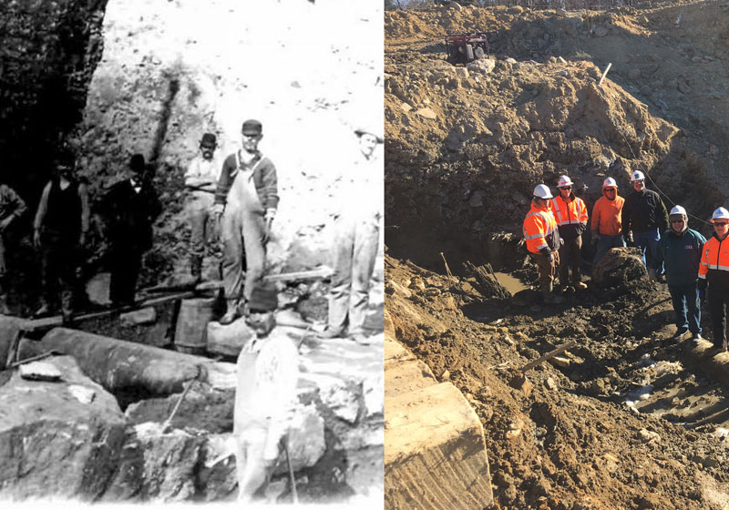 then and now photos of workers on the Stiles Reservoir Dam