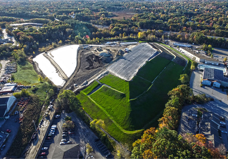 Overhead view of Glenview Landfill after adding grass